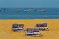 Couple benches on the beach Royalty Free Stock Photo