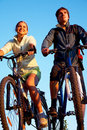Couple of bicycles on sunset Royalty Free Stock Photos