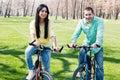 Couple on bike Stock Photo