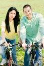 Couple on bike Royalty Free Stock Photo