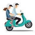Couple on bike,Cartoons character family