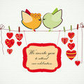Couple of birdies, hearts on the clothespin. Royalty Free Stock Images