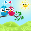 Couple of birds in love vector illustratio Stock Photo