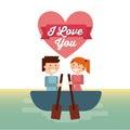 Couple on boat icon. Love design. Vector graphic
