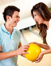 Couple bowling for a date Stock Photography
