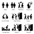 Couple boyfriend girlfriend love cliparts a set of human pictograms representing the scenario and issue of and Royalty Free Stock Photography