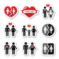 Couple breakup divorce broken family icons set isolated on white heart concept Royalty Free Stock Image