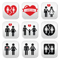Couple breakup divorce buttons set on white broken heart concept Stock Photography