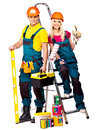 Couple builder with construction tools isolated Stock Images
