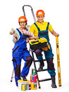 Couple builder with construction tools isolated Stock Photo