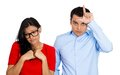 Couple. Bully man, nerdy woman Royalty Free Stock Photos