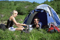 Couple camping in the great outdoors Royalty Free Stock Photography