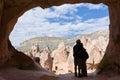 A couple in cappadocia zelve open air museum at turkey Stock Photography