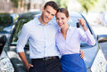 Couple with car keys young to new Royalty Free Stock Images