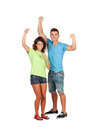 Couple of casual friends celebrating something isolated on a white background Royalty Free Stock Image