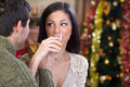 Couple celebrate christmas night young Stock Photos