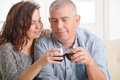 Couple celebrating in home happy with wine hands Stock Images