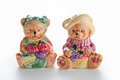Couple ceramic bears two isolated with white background Royalty Free Stock Images
