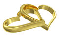 Couple of chained golden hearts diagonal view Royalty Free Stock Images