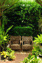 Couple chair in the garden Stock Image