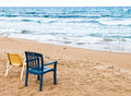 Couple of chairs on the beach Royalty Free Stock Photo