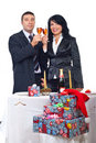 Couple champagne toast and celebrate Christmas Royalty Free Stock Photos