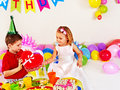 Couple child on birthday party happy Stock Photography