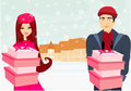 Couple on christmas shopping illustration Royalty Free Stock Image