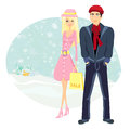 Couple on christmas shopping illustration Royalty Free Stock Photo