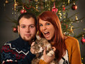 Couple and christmas tree Royalty Free Stock Image
