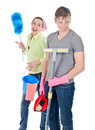 Couple cleaning the house angry men and smiling women doing spring in Royalty Free Stock Photo