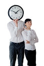 Couple and clock Royalty Free Stock Images