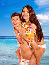 Couple with cocktail at hawaii wreath beach summer outdoor Stock Image