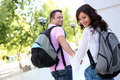 Couple at College Royalty Free Stock Image