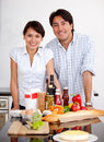 Couple cooking Royalty Free Stock Image