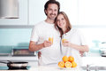 Couple cooking breakfast Royalty Free Stock Photo