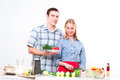 Couple of cooking together Stock Photography