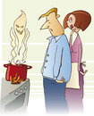 Couple cooking toxic soup Royalty Free Stock Photography