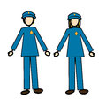 Couple of cops over white background vector illustration Stock Photos