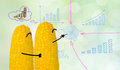 Couple corn drawing business graph Stock Photos