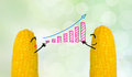 Couple corn drawing business graph Stock Images