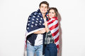 couple cover with US Flag Royalty Free Stock Photo