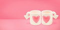 Couple cupid cup of Love on Valentine`s Day concept.Minimalism
