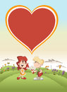 Couple of cute cartoon kids in love the park with a big heart icon over them Stock Photos