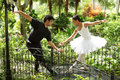 Couple dancing ballet in the park Royalty Free Stock Photo