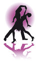 Couple dancing latino eps silhouette of a editable file available of dance poses variations Stock Image