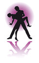 Couple dancing latino eps silhouette of a editable file available of dance poses variations Royalty Free Stock Images