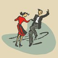 Couple dancing rocknroll retro stile stock Stock Images