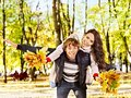 Couple on date autumn outdoor. Royalty Free Stock Images