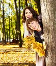 Couple on date autumn outdoor loving Royalty Free Stock Image